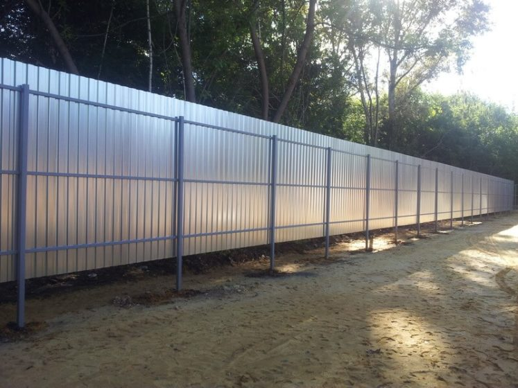 Забор из оцинкованного листа на дачу