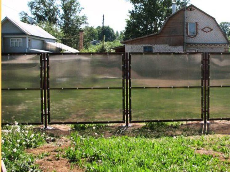Забор из поликарбоната между участками