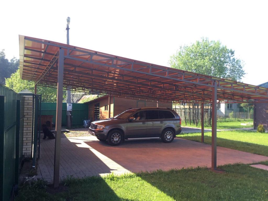 Навесы для автомобилей с односкатной крышей